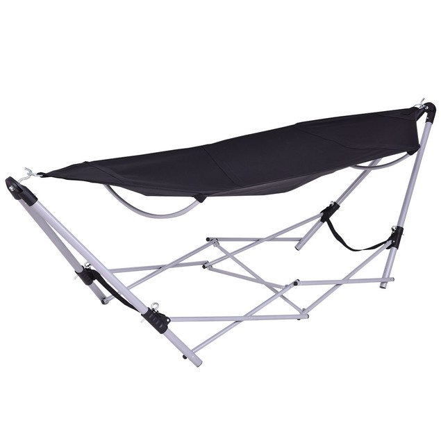Costway Black Portable Folding Hammock Lounge Camping Bed Steel Frame Stand