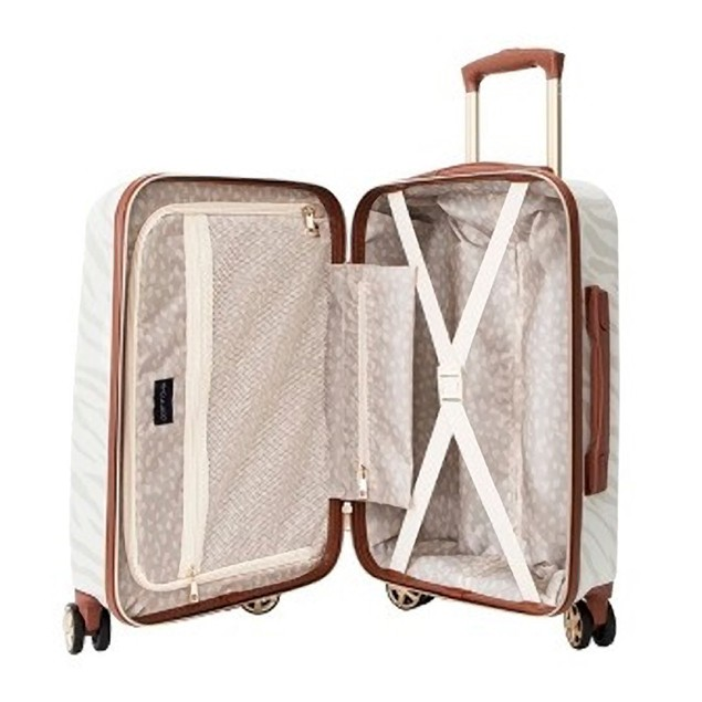 "Path Travel 22"" Hardside Suitcase, Travel Easy and in Style, Zebra Cream,"