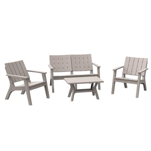 4pc Garden & Backyard Deck Conversation Set w/ Adirondack Comfort & Table