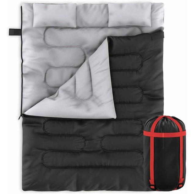 Zone Tech 2 In 1 Travel Camp Sleeping Bag Queen Size 2 Pillows