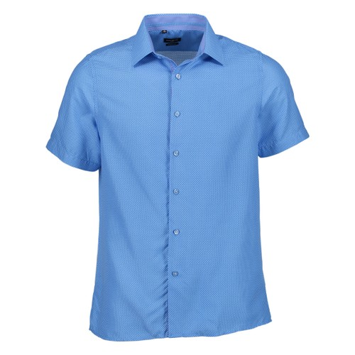 Rosso Milano Modern Fit Short Sleeve Blue Houndstooth Dress Shirt