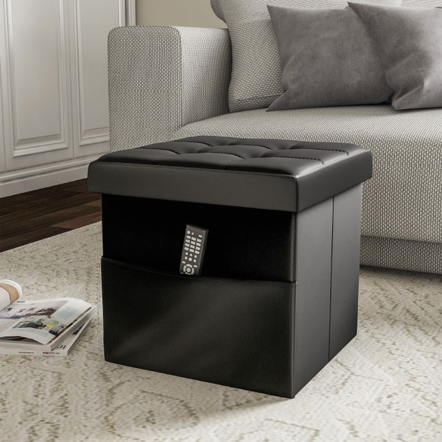 Foldable Storage Cube Ottoman with Pocket  Tufted Faux Leather Footrest