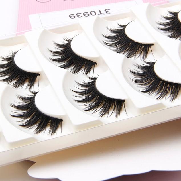 5 Pairs Handmade Long Black Makeup Thick False Eyelashes Eye Lashes