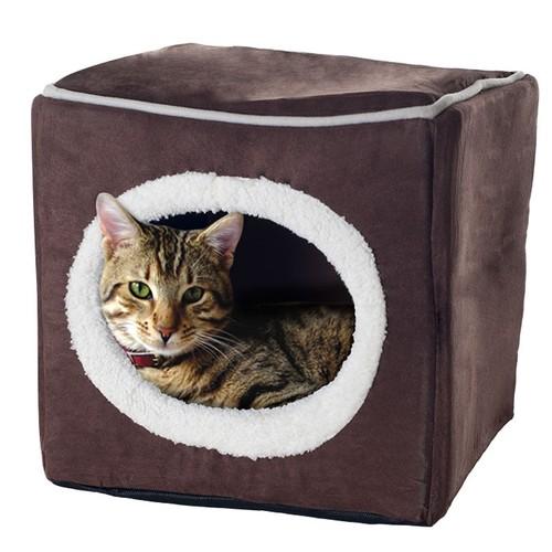 Cozy Cat Cave Enclosed Cube Pet Bed - Dark Coffee