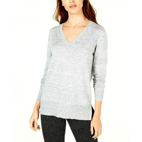 Maison Jules Women's Cotton V-Neck Tunic Sweater Gray Size Extra Small