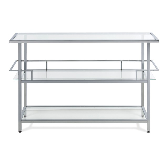 Studio Designs Metal Chrome and Clear Glass Portico Bar Cocktails Station