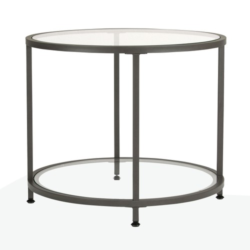 Offex Camber Collection Round Clear Glass Side Table - Pewter