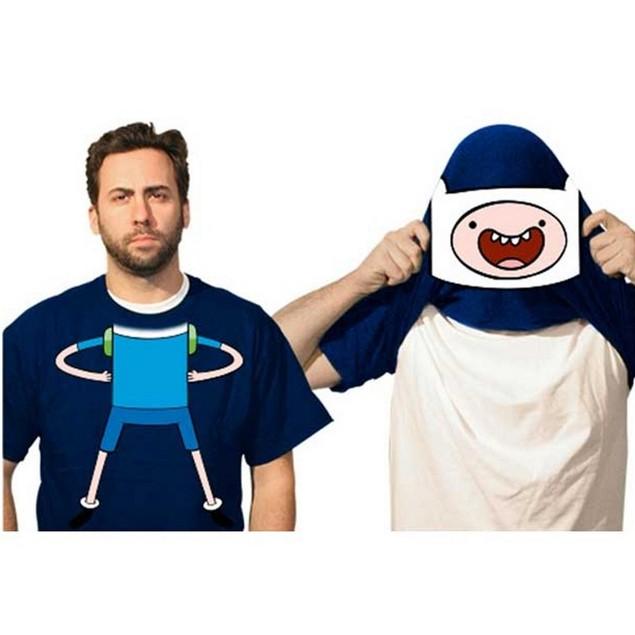 Finn Flip-Up Face Adventure Time Adult T-Shirt Reveal Jake