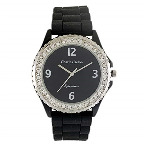 Charles Delon Women's Watches 5047 LPBB Black/Silver Plastic Quartz Round Analog