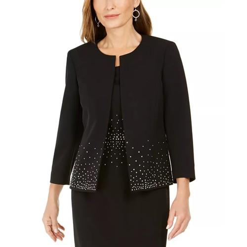 Kasper Women's Embellished Open Front Jacket Black Size 16