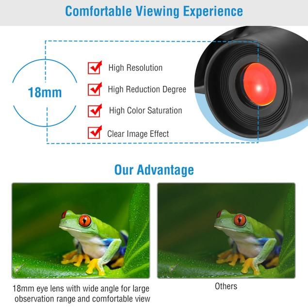 Portable HD Binoculars with FMC Lens Low Light Night Vision Telescope