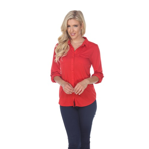 White Mark Skylar Stretchy Button-Down Top - 5 Colors