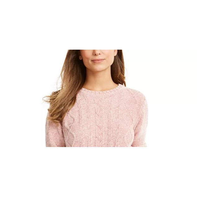 Karen Scott Women's Cable Knit Chenille Sweater Pink Size Large