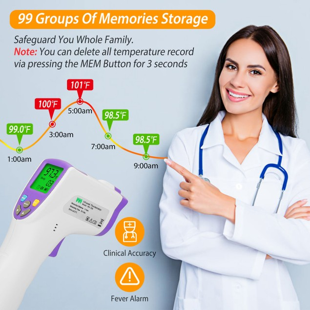 Digital Infrared Thermometer Non-contact Forehead Body Thermometer 99 Memories