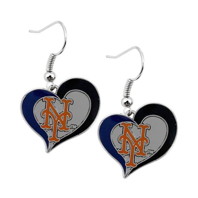 MLB Swirl Heart Team Dangle Earrings New York Mets