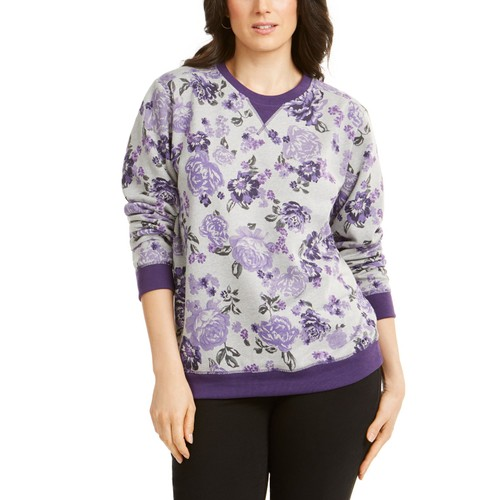 Karen Scott Women's Printed Crewneck Sweatshirt Purple Size Petite Large