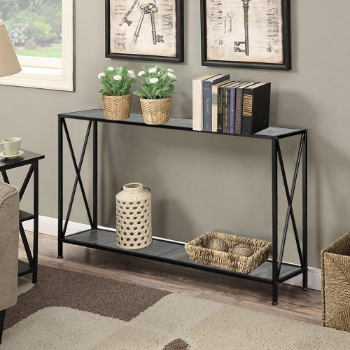 Grey Countertop Black Wrought Iron Base 2 Layers Forked Console Table