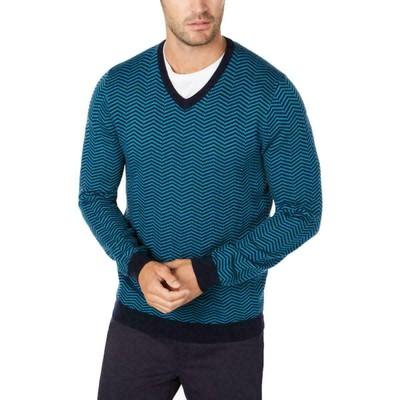 Tasso Elba Men's Merino Herringbone Sweater Blue Size Small