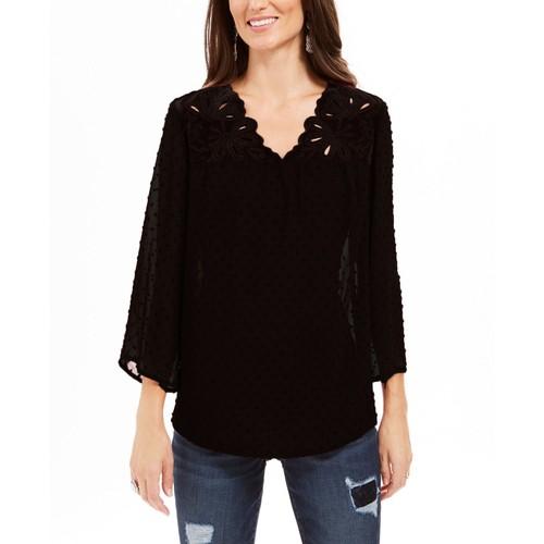 Style & Co Women's Mixed-Media Sheer-Sleeve Blouse  Black Size Extra Small