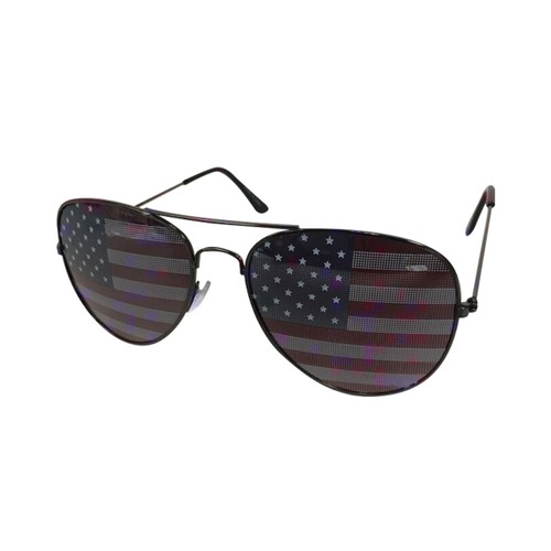American Flag Sunglasses With Gunmetal Frames USA July 4th Independence US
