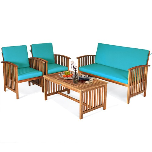 Costway 4PCS Patio Solid Wood Furniture Set Conversation Coffee Table Turqu