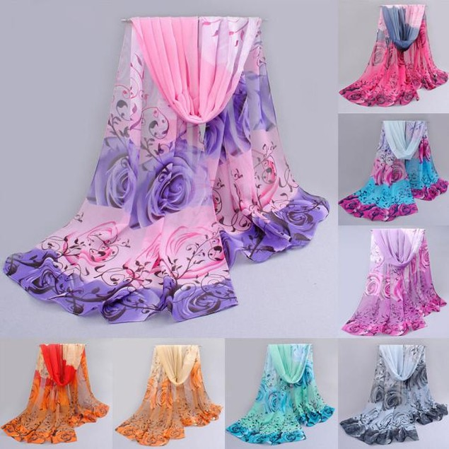 Women Beautiful Rose Pattern Chiffon Shawl Wrap Wraps Scarf Scarves