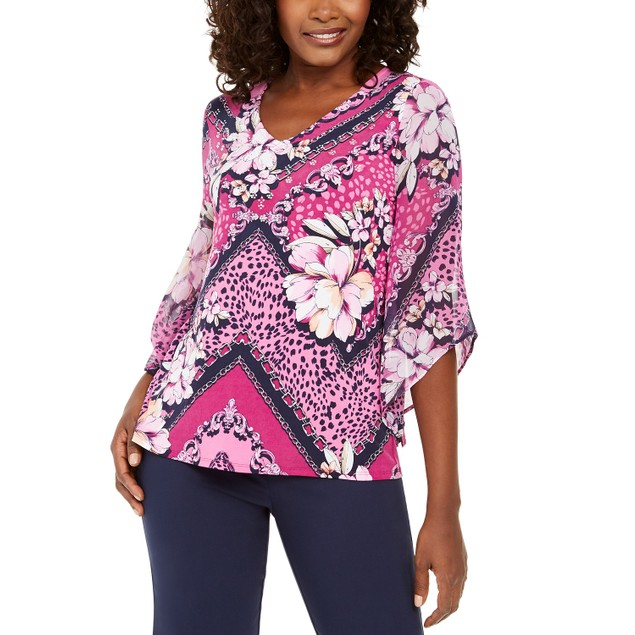 JM Collection Women's Chiffon-Sleeve Printed Tunic Top Med Pink Size Small