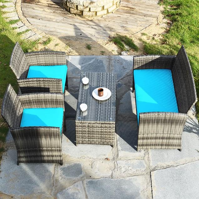Costway 4PCS Patio Rattan Furniture Set Conversation Glass Table Top Cushio