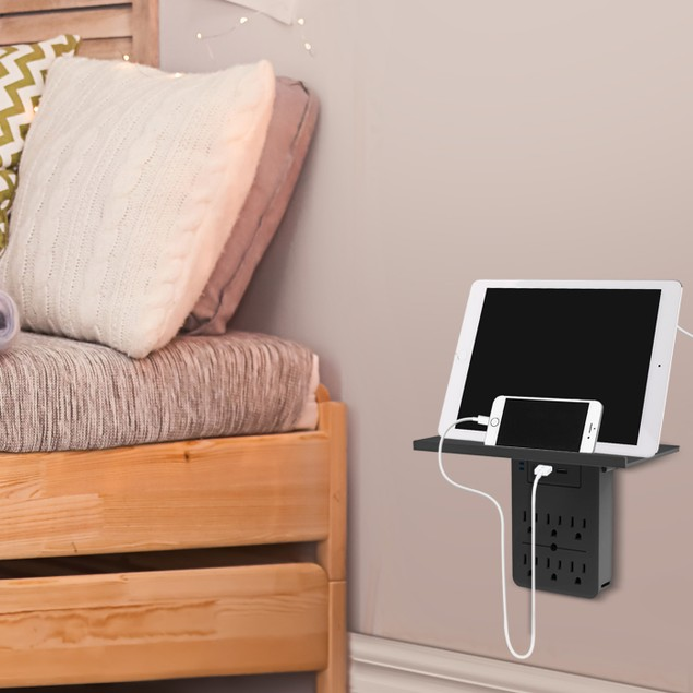 Aduro Shelf Series Surge Protector with 6 Outlets and Dual USB Ports
