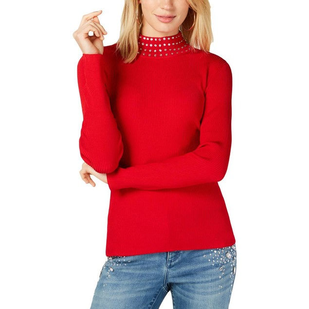 INC International Concepts Women's Embellished Turtleneck Red Size Small
