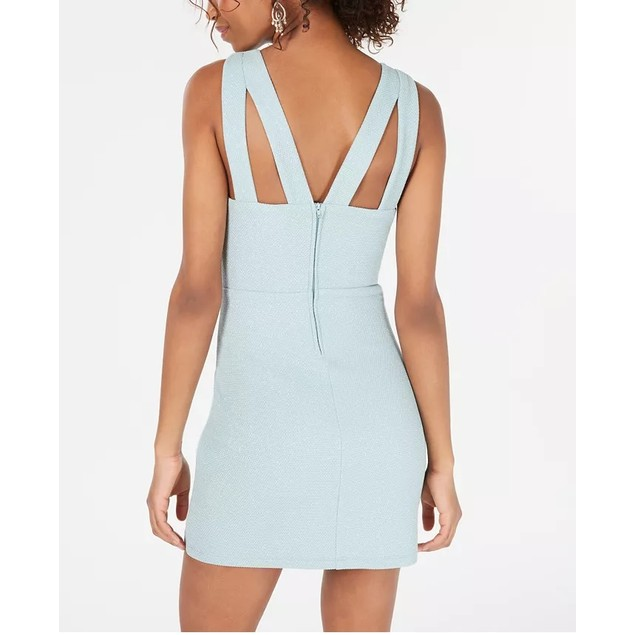 Speechless Juniors' Glitter-Knit Bodycon Dress Aqua Size 5