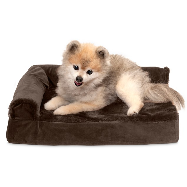 FurHaven Plush & Velvet Deluxe Chaise Lounge Cooling Gel Pet Bed