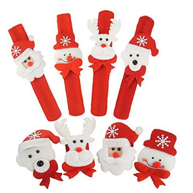Set of 4 Christmas Slap Bracelets Wristband