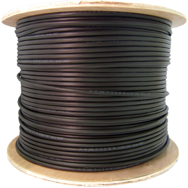 Direct Burial/Outdoor rated Cat5e Black Ethernet Cable,  1000 foot