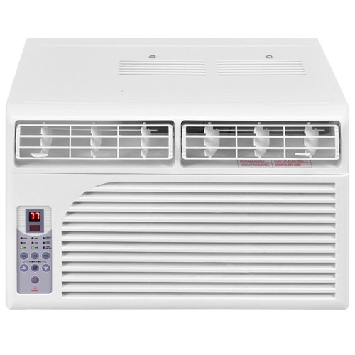 Costway 8K BTU White Compact 115V Window-Mounted Air Conditioner With Remot