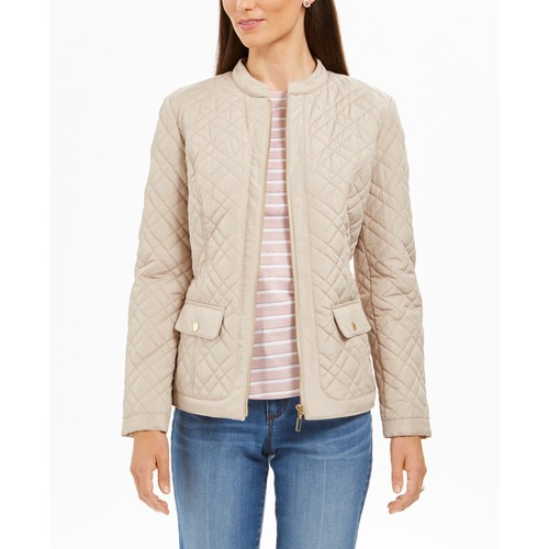 Charter Club Women's Petite Quilted Jacket Lt Beige Size Petite