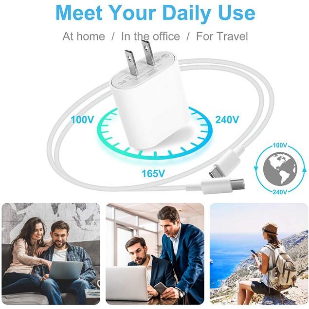 18W USB C Fast Charger by NEM Compatible with ZTE Axon 10 Pro 5G - White