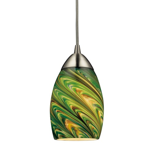 Mini Vortex 1 Light Pendant In Satin Nickel And Evergreen Glass