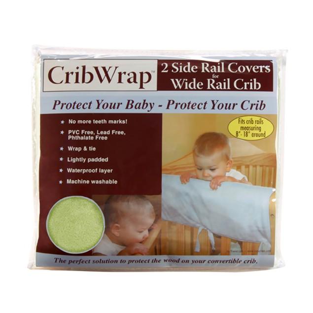 Trend Lab Cribwrap Wide Rail Cover - 2 Short Sage Fleece