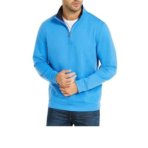 Club Room Men's Stretch 1/4-Zip Fleece Sweatshirt Med Blue Size Small