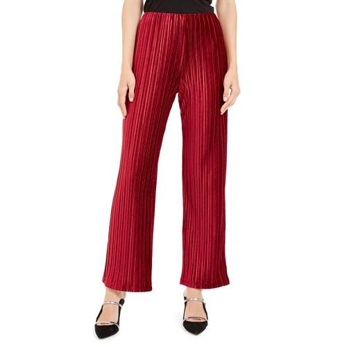 Alfani Women's Pull-On Velvet Wide-Leg Pants Wine Size Medium