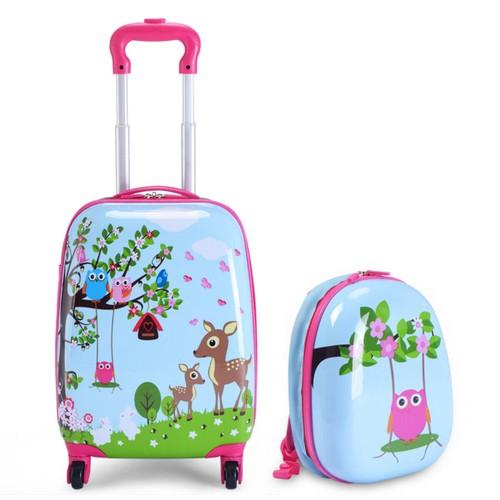 Costway 2Pc 12'' 16'' Kids Luggage Set Suitcase Backpack School Travel Trol
