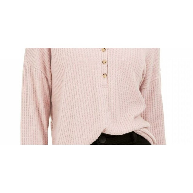 Hippie Rose Juniors' Henley Waffle Knit Top Med Pink Size Large