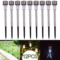 12-Pack Garden Outdoor Stainless Steel LED Solar Lamp Light