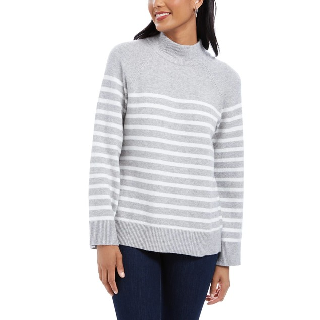 Charter Club Women's Striped Mockneck Sweater Med Gray Size XX Large