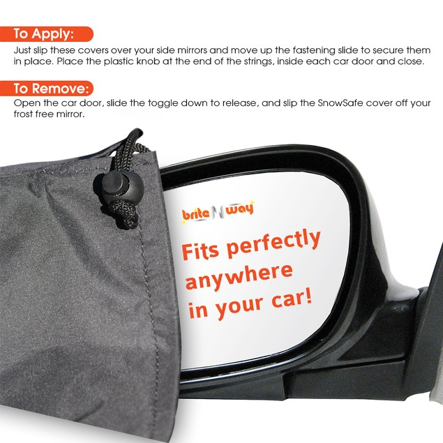 Snow & Ice Side View Mirror Cover and Protector - Fits Most Cars Vans Suv
