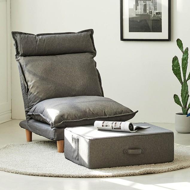 """Monster Living Bake 24""""L Multipurpose Modern Zippered Design Floor Ottoman - Grey"""