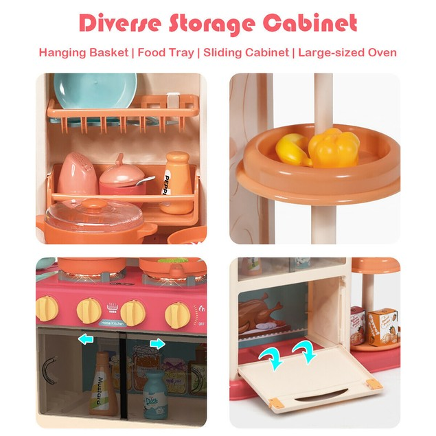 Costway Kitchen Playset w/ Simulation of Spray & Realistic Lights & Sounds
