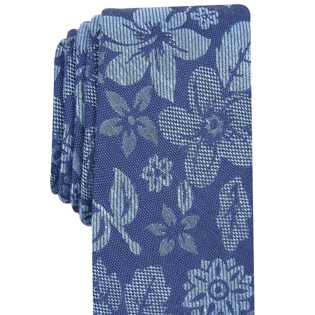 Bar III Men's Seaside Skinny Floral Tie  Dark Blue Size Regular