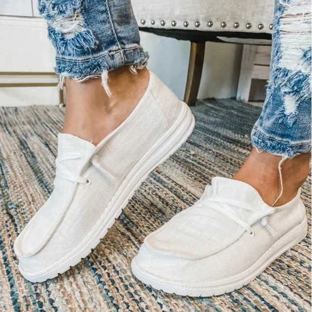 Women Flats Breathable Casual Shoes Lace Up Students